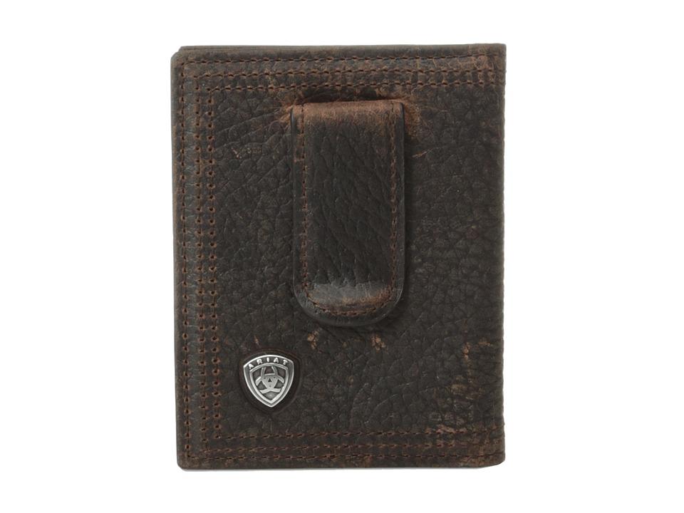 Ariat - Ariat Shield Bi-Fold Money Clip (Brown Rowdy) Wallet Handbags