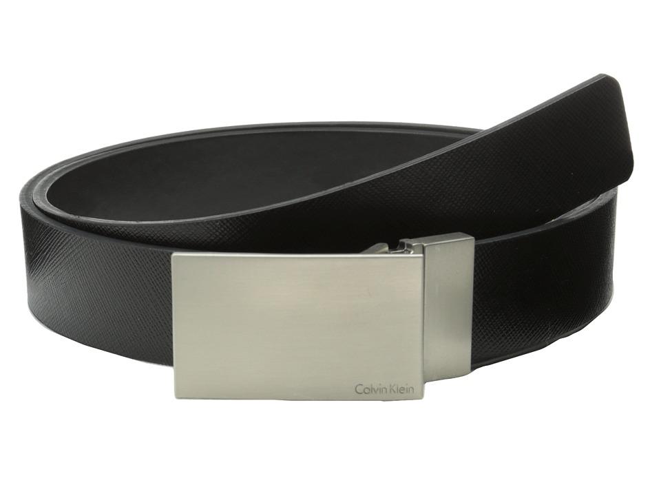 Calvin Klein 32MM Reversible Flat Strap Plaque Buckle w/ Logo Black Black Mens Belts