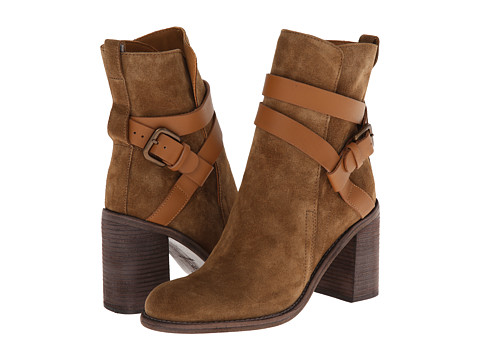 Shop See by Chloe online and buy See by Chloe SB23181 Nude Toscy Calf Shoes - See by Chloe SB23181 Nude Toscy Calf Shoes: Strut your stuff in these stylish See by Chloe boots. ; Suede leather upper with tonal stitching. ; Pull loop at heel. ; Decorative cross foot strap with buckle closure. ; Plain toe ankle boot silhouette. ; Pull-on construction. ; Soft leather lining and insole. ; Stacked heel and leather outsole. ; Imported. Measurements: ; Heel Height: 3 1 4 in ; Weight: 1 lb ; Shaft: 7 in ; Product measurements were taken using size 35 US Women's 5, width M. Please note that measurements may vary by size.