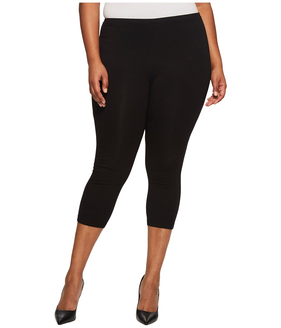 HUE Plus Size Cotton Capri (Black) Women