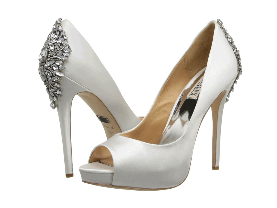 Badgley Mischka Kiara (White Satin) High Heels