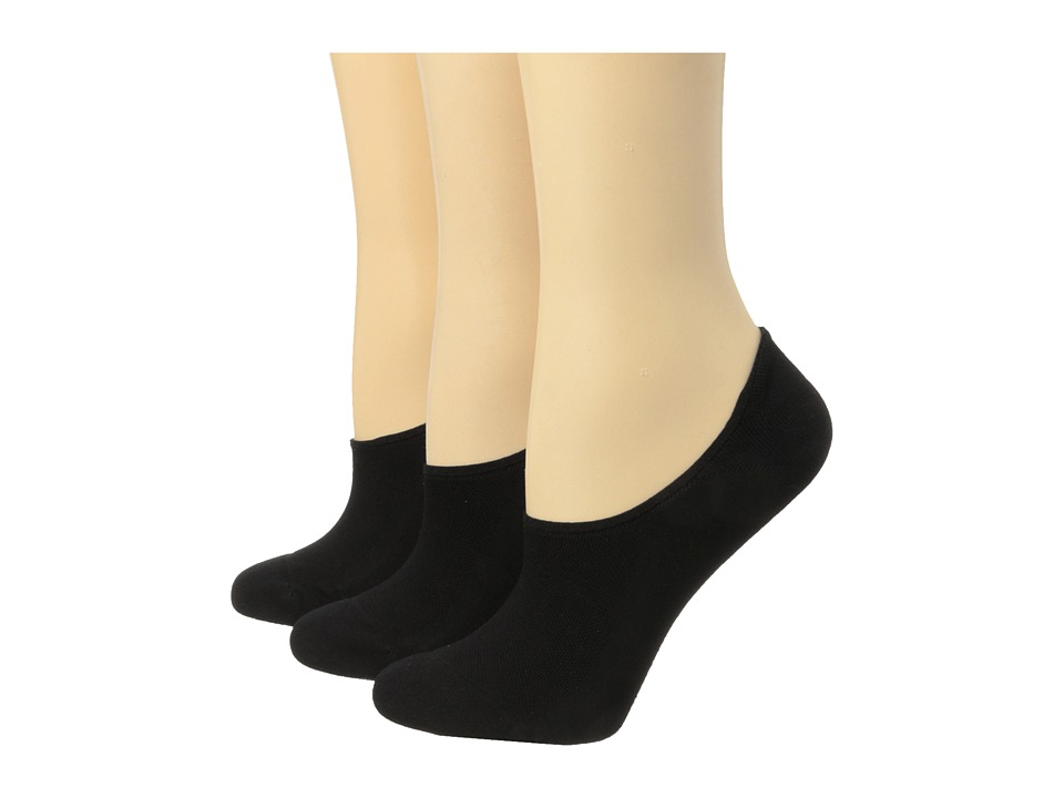 HUE Air Sleek Liner 3 Pair Pack Black Womens No Show Socks Shoes