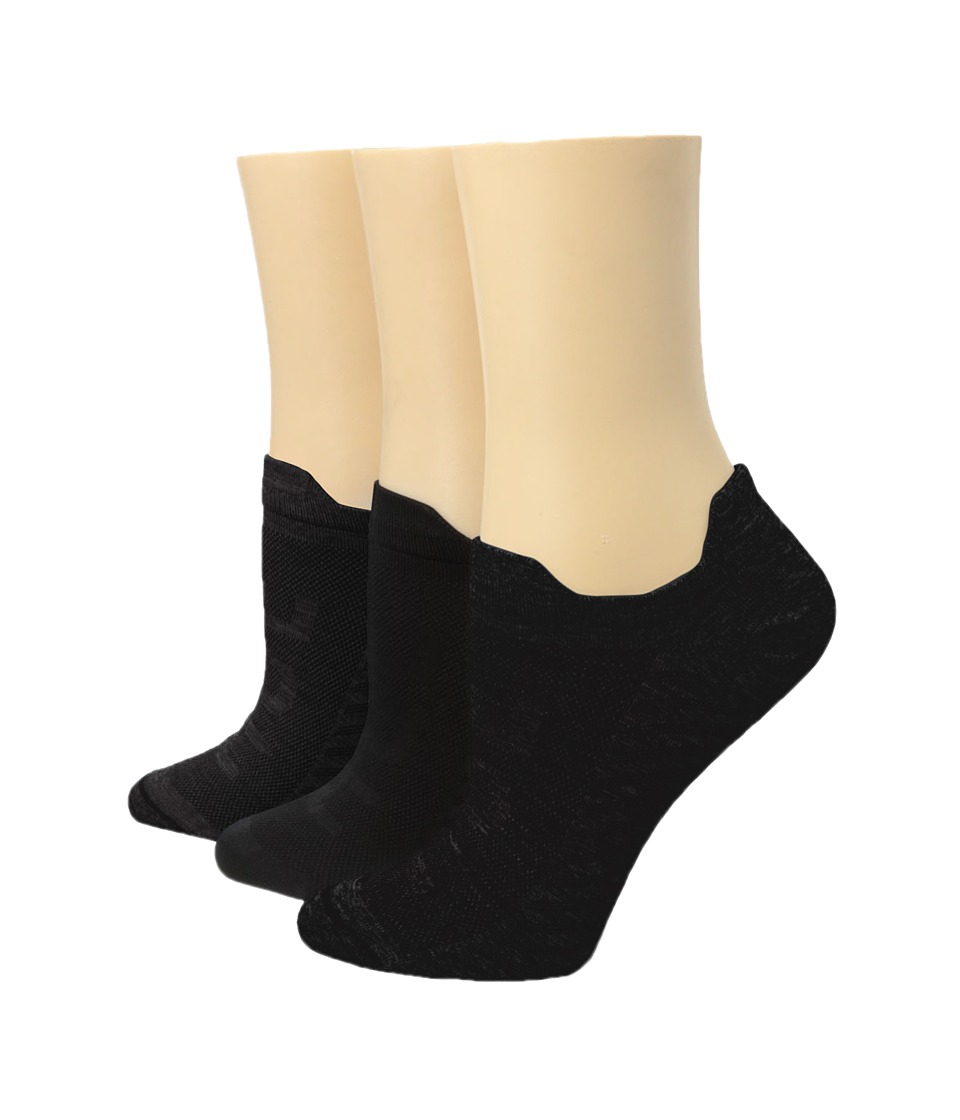 HUE Air Sleek Front Back Tab 3 Pack Black Womens No Show Socks Shoes