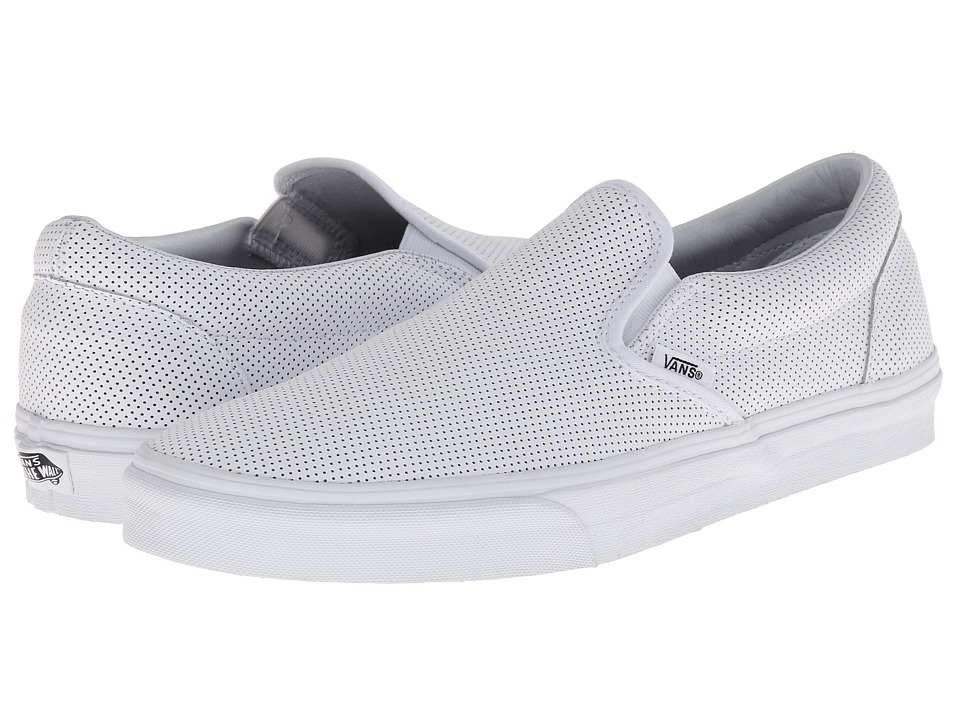 Vans Classic Slip On Perf Leather White Skate Shoes
