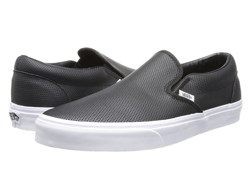 Vans Classic Slip-On Core Classics ((Perf Leather) Black) Shoes
