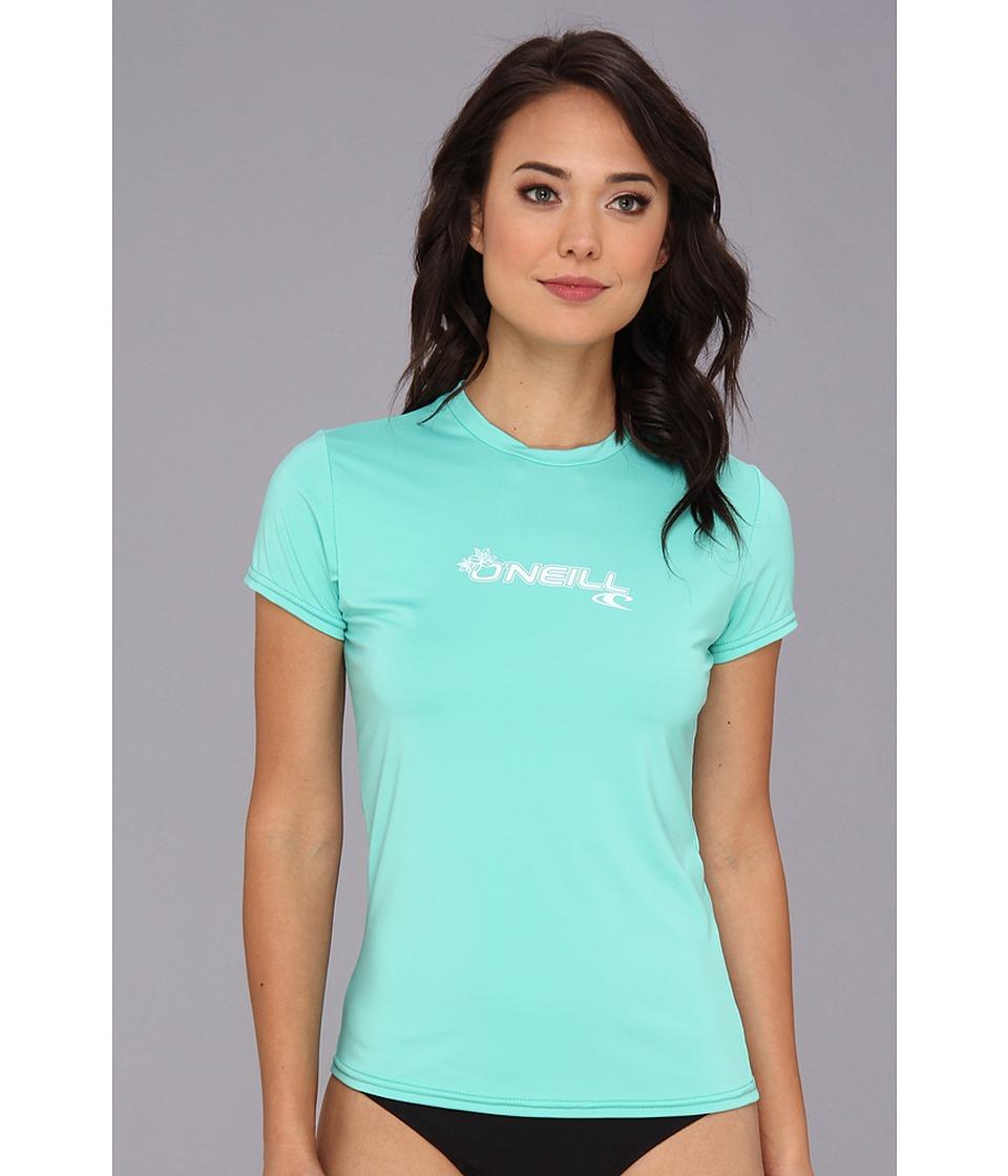 ONeill Basic Skins S/S Rash Tee Light Aqua Womens Swimwear
