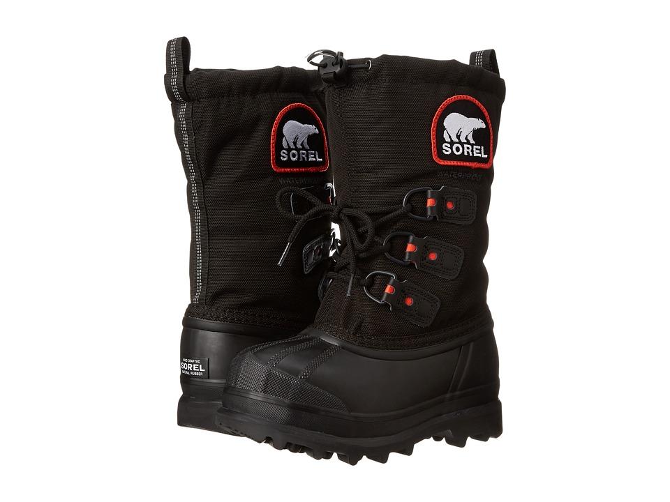 SOREL Kids Glacier XT Little Kid/Big Kid Black/Red Quartz Boys Shoes