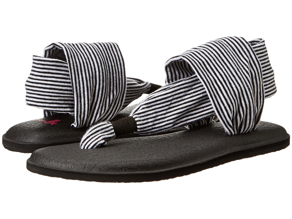 Sanuk Kids - Yoga Sling Girls (Little Kid/Big Kid) (Black/White Stripes) Girls Shoes