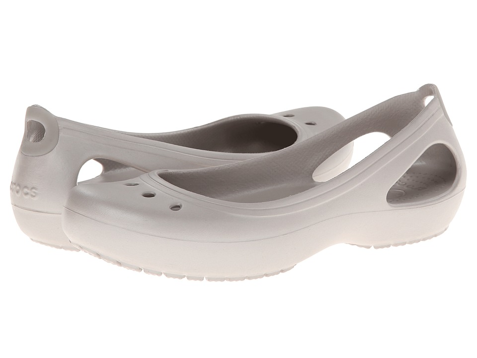 Shop Crocs online and buy Crocs Kadee Platinum-Platinum Women's Slip on  Shoes - Please note this style runs in whole sizes only. For customers that are a half size, the brand recommends ordering a half size smaller than your normal shoe size.The adorable Kadee flat from Crocs is an innovative shoe loaded with the renowned comfort that Crocs is famous for.Croslite upper with feminine details and stylish windows on the heels for added style.Slip-on construction with Croslite lining that is form-fitting for a snug, comfortable fit.The Croslite material footbed serves a dual function to relieve pressure on feet, legs and back while increasing blood flow through its use of circulation nubs.Slip-resistant and non-marking outsole delivers sure footing on a variety of surfaces. Measurements:Heel Height: 1 inWeight: 3 ozProduct measurements were taken using size 8, width M. Please note that measurements may vary by size.
