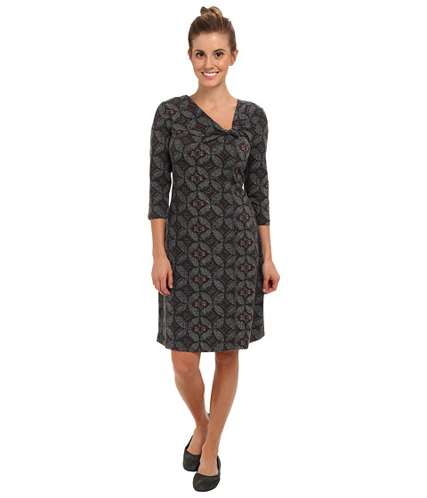 Shop Royal Robbins online and buy Royal Robbins Essential Nara Dress Jet Black Online - Royal Robbins - Essential Nara Dress (Jet Black) - Apparel: Enjoy a concert under the stars in this Royal Robbins Essential Nara Dress. ; Regular fit has a modern cut that is shaped to slim the body. ; Ponte fabrication dries quickly to maintain a comfortable wrinkle free look throughout the day and night. ; Abstract pattern throughout boasts a bias cut detail around the neckline for an asymmetric look. ; V neckline. ; Three-quarter sleeve construction. ; Straight hemline hits above the knee. ; 58% cotton, 37% Tencel lyocell, 5% spandex. ; Machine wash cold, tumble dry low. ; Imported. Measurements: ; Length: 37 in ; Product measurements were taken using size SM. Please note that measurements may vary by size.