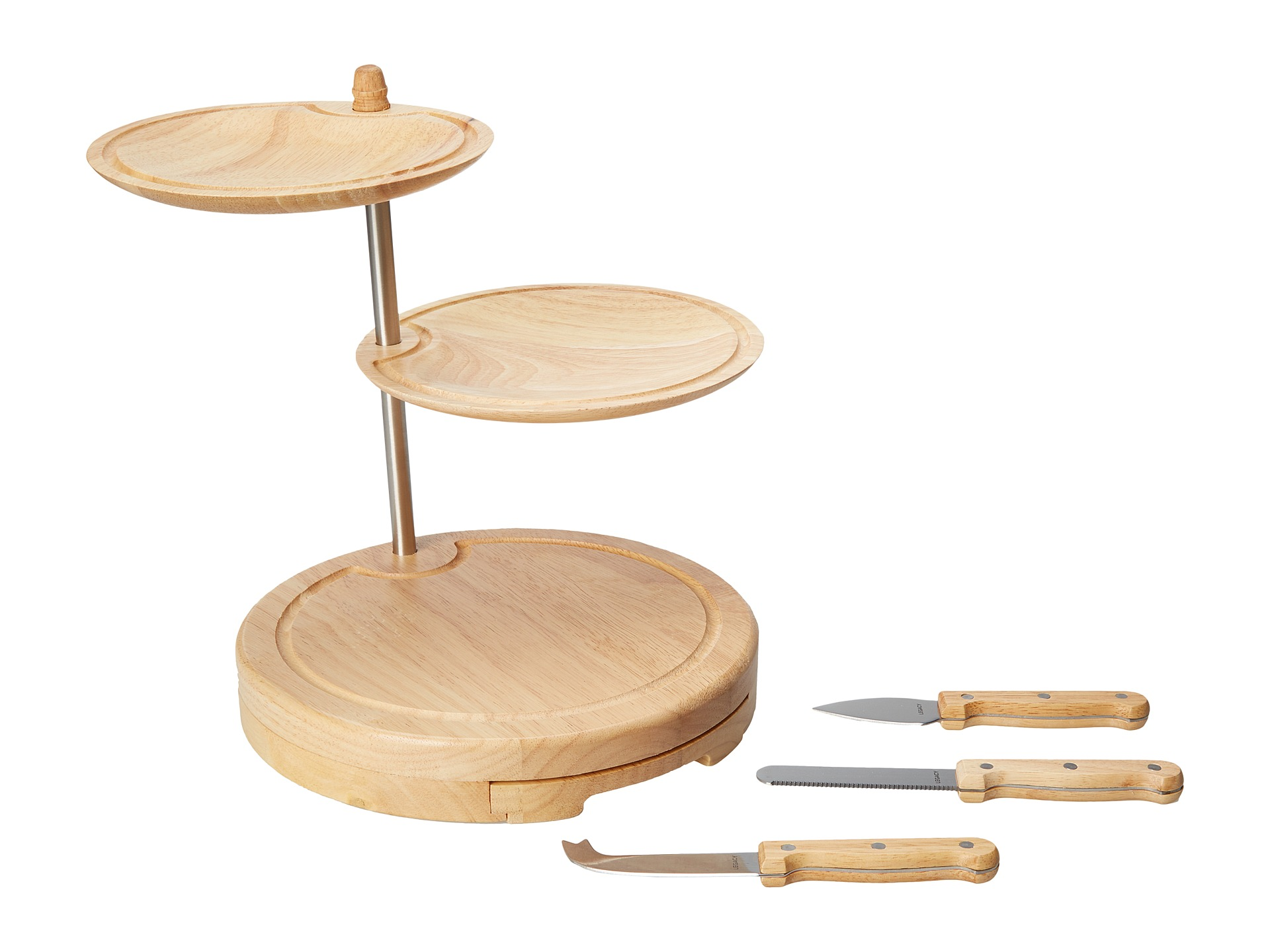 picnic time regalio three tier serving tray cheese board natural wood shipped free at zappos. Black Bedroom Furniture Sets. Home Design Ideas