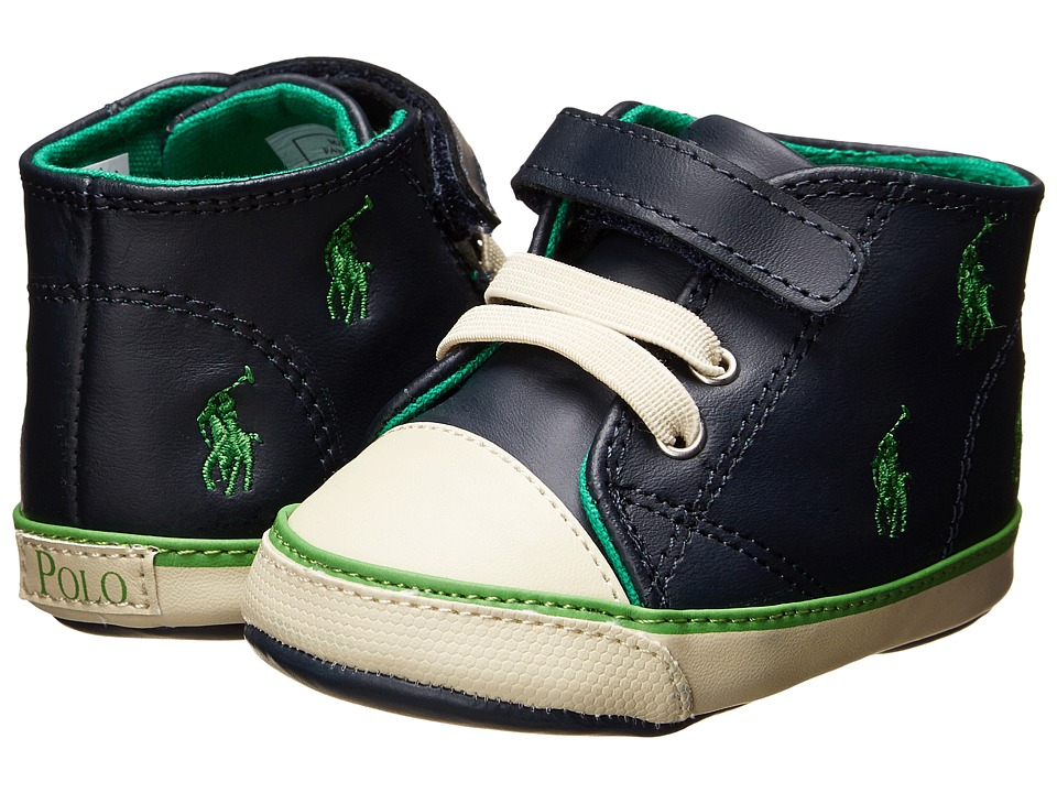 Ralph Lauren Layette Kids Bal Harbour Cap Toe Repeat Hi Infant/Toddler Navy Leather/Green Ponies Boys Shoes