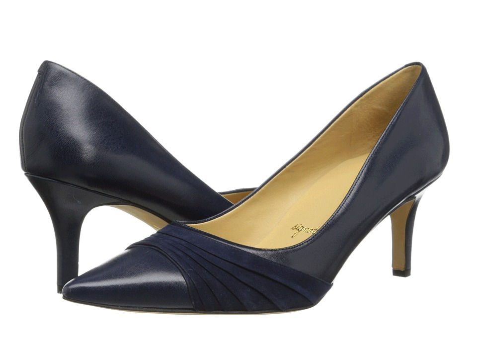 Trotters Alexandra Navy Glazed Kid Leather/Kid Suede Womens 1 2 inch heel Shoes