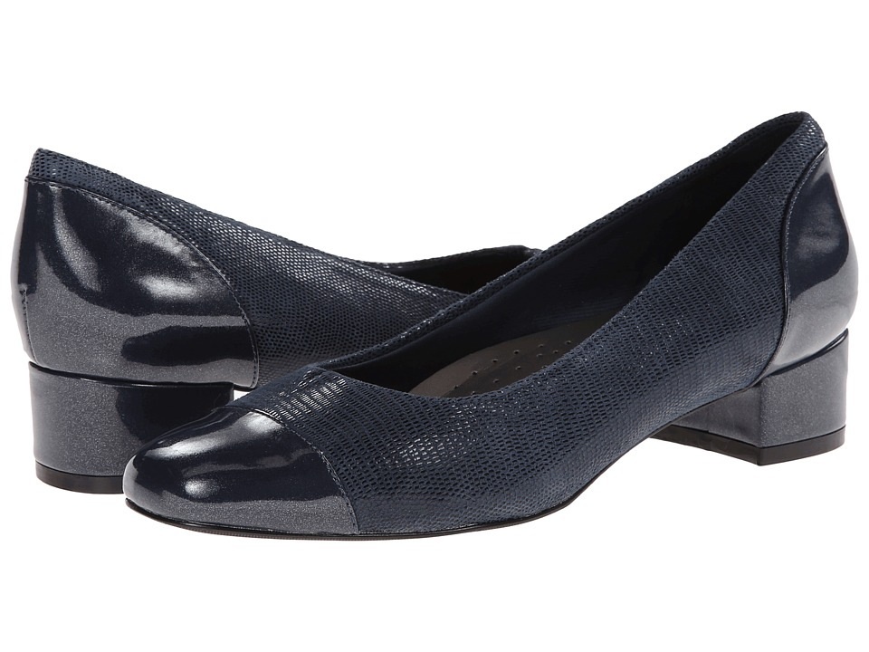 Trotters - Danelle (Dark Blue Patent Suede Lizard Leather/Pearlized Patent) Womens Slip on  Shoes