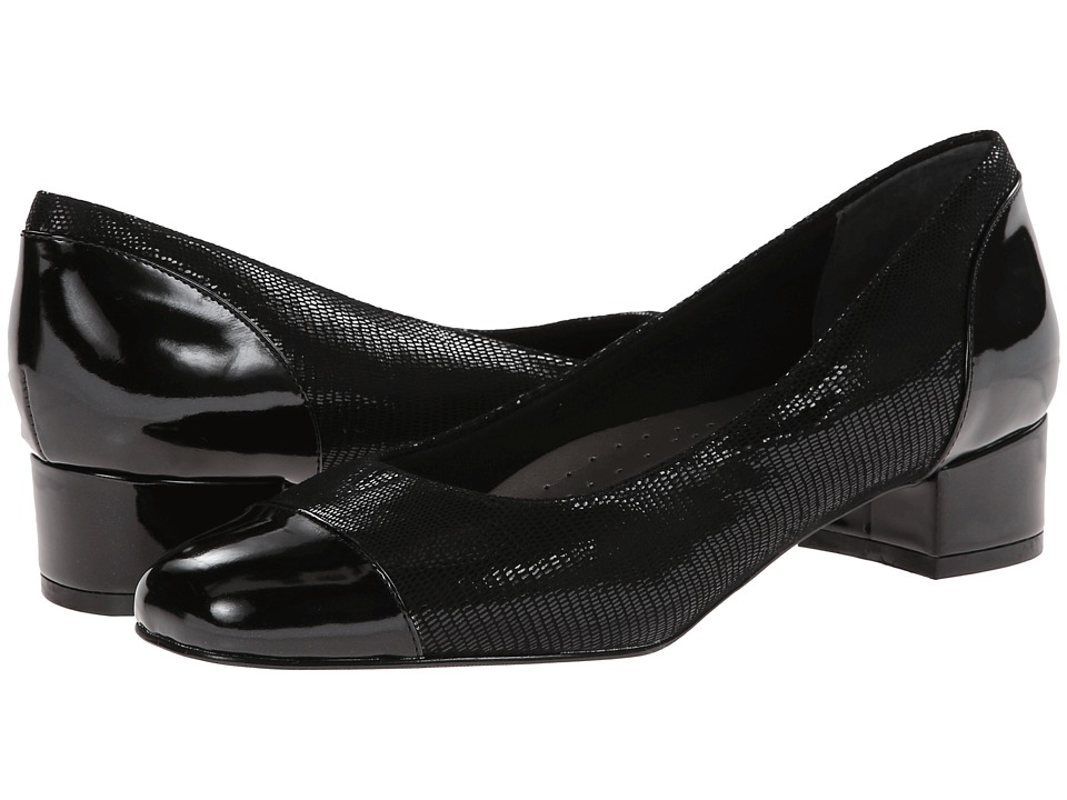 Trotters Danelle (Black Patent Suede Lizard Leather/Pearlized Patent) Women