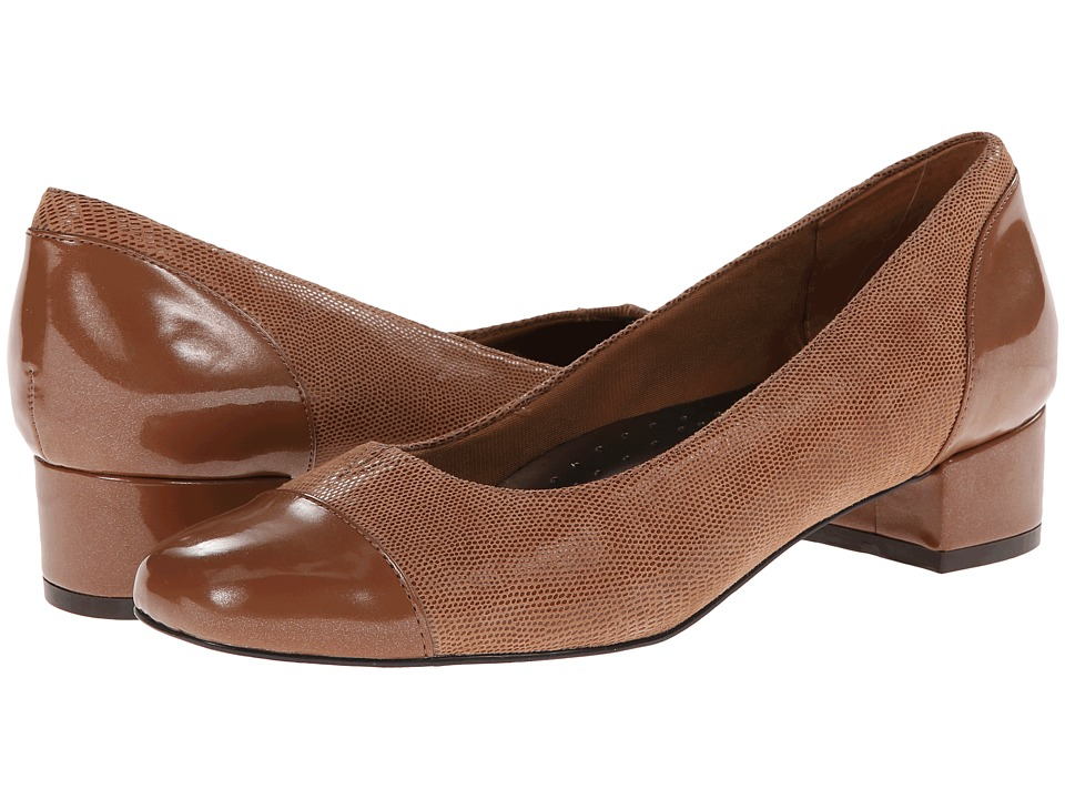 Trotters Danelle (Mid Brown Patent Suede Lizard Leather/Pearlized Patent) Women