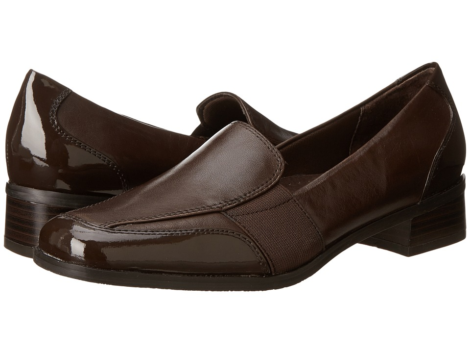 Trotters Arianna Dark Brown Patent Leather/Burnished Soft Kid Womens Shoes