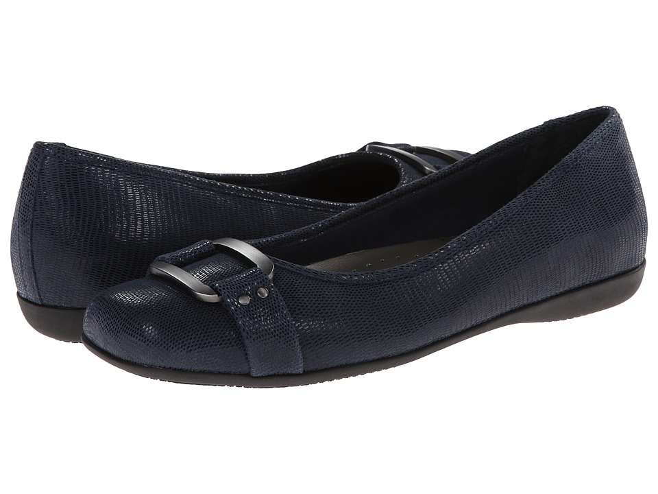 Trotters - Sizzle (Dark Blue Patent Suede Lizard Leather) Women
