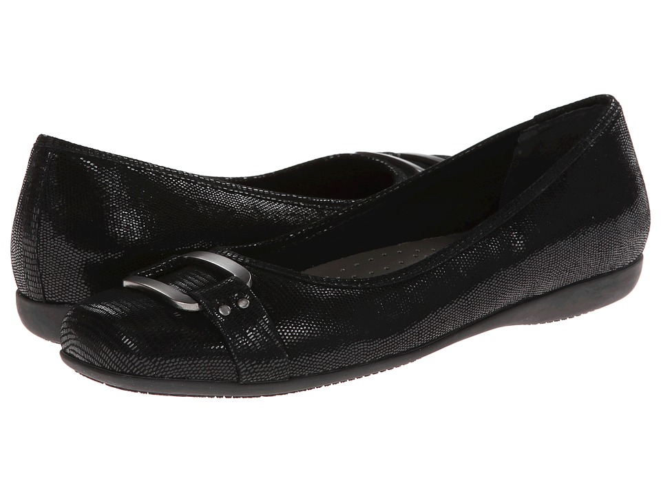 Trotters Sizzle (Black Patent Suede Lizard Leather) Women's Dress Flat Shoes