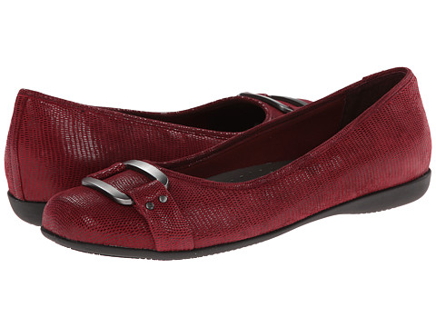 Trotters Sizzle - Dark Red Patent Suede Lizard Leather