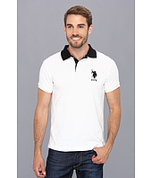 U.S. POLO ASSN. - Slim Fit Big Horse Polo w/ Stripe Collar
