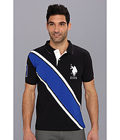 U.S. POLO ASSN. - Slim Fit Diagonal Stripe Polo with Big Pony