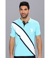 U.S. Polo Assn - Slim Fit Diagonal Stripe Polo with Big Pony