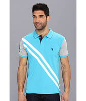 U.S. Polo Assn - Small Pony Diagonal Stripe Polo w/ Solid Sleeve