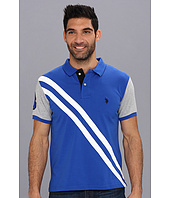 U.S. POLO ASSN. - Small Pony Diagonal Stripe Polo w/ Solid Sleeve