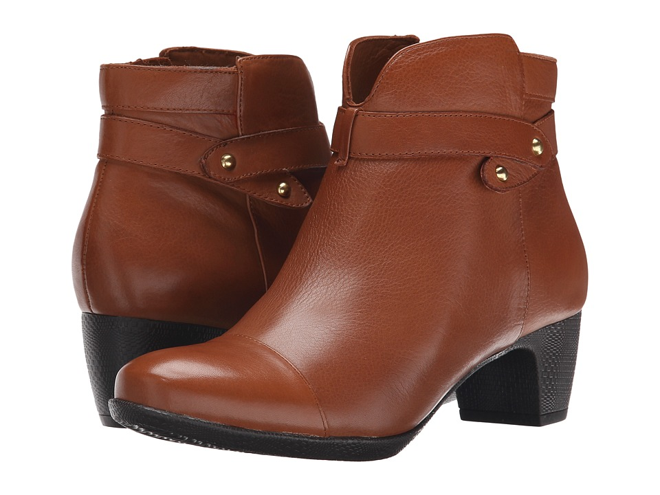 SoftWalk Ivanhoe Cognac Tumbled Leather Womens Zip Boots