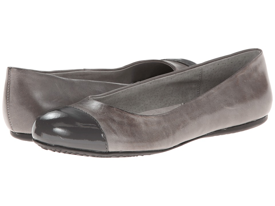 SoftWalk Napa Grey/Dark Grey Soft Dull Leather/Patent Womens Flat Shoes
