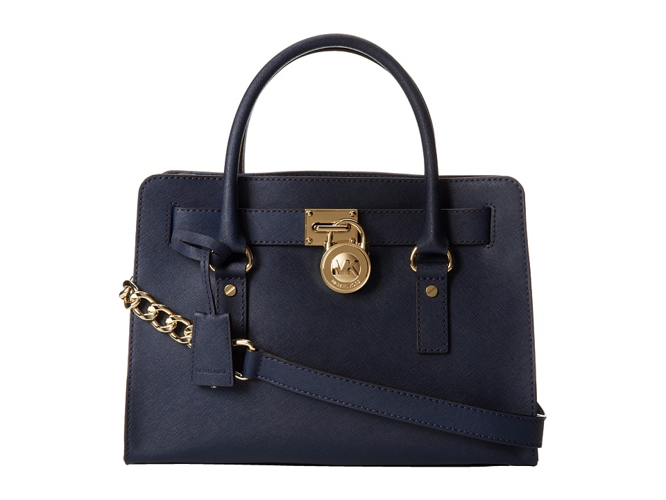 MICHAEL Michael Kors - Hamilton 18K East/West Satchel (Navy) Satchel Handbags
