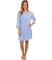 Karen Neuburger - Blue Velvet 3/4 Sleeve Henley Nightshirt