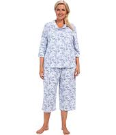 Karen Neuburger - Plus Size Blue Velvet 3/4 Sleeve Girlfriend Crop PJ