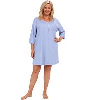 Karen Neuburger - Plus Size Blue Velvet 3/4 Sleeve Henley Nightshirt