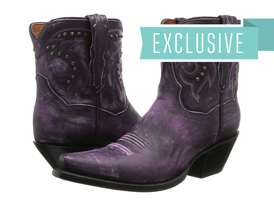 Dan Post Flat Iron Studs (Purple Vintage) Cowboy Boots