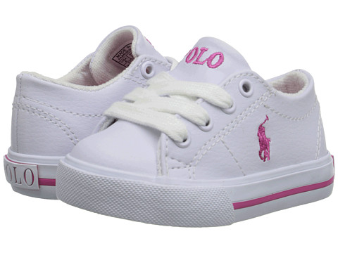 Polo Ralph Lauren Kids Scholar (Toddler) - White Tumbled/Pink Pony Player