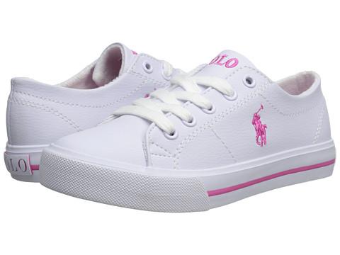 Polo Ralph Lauren Kids Scholar (Little Kid) - White Tumbled/Pink Pony Player