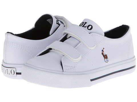 Polo Ralph Lauren Kids Scholar EZ (Toddler) - White Tumbled/Multi Pony Player