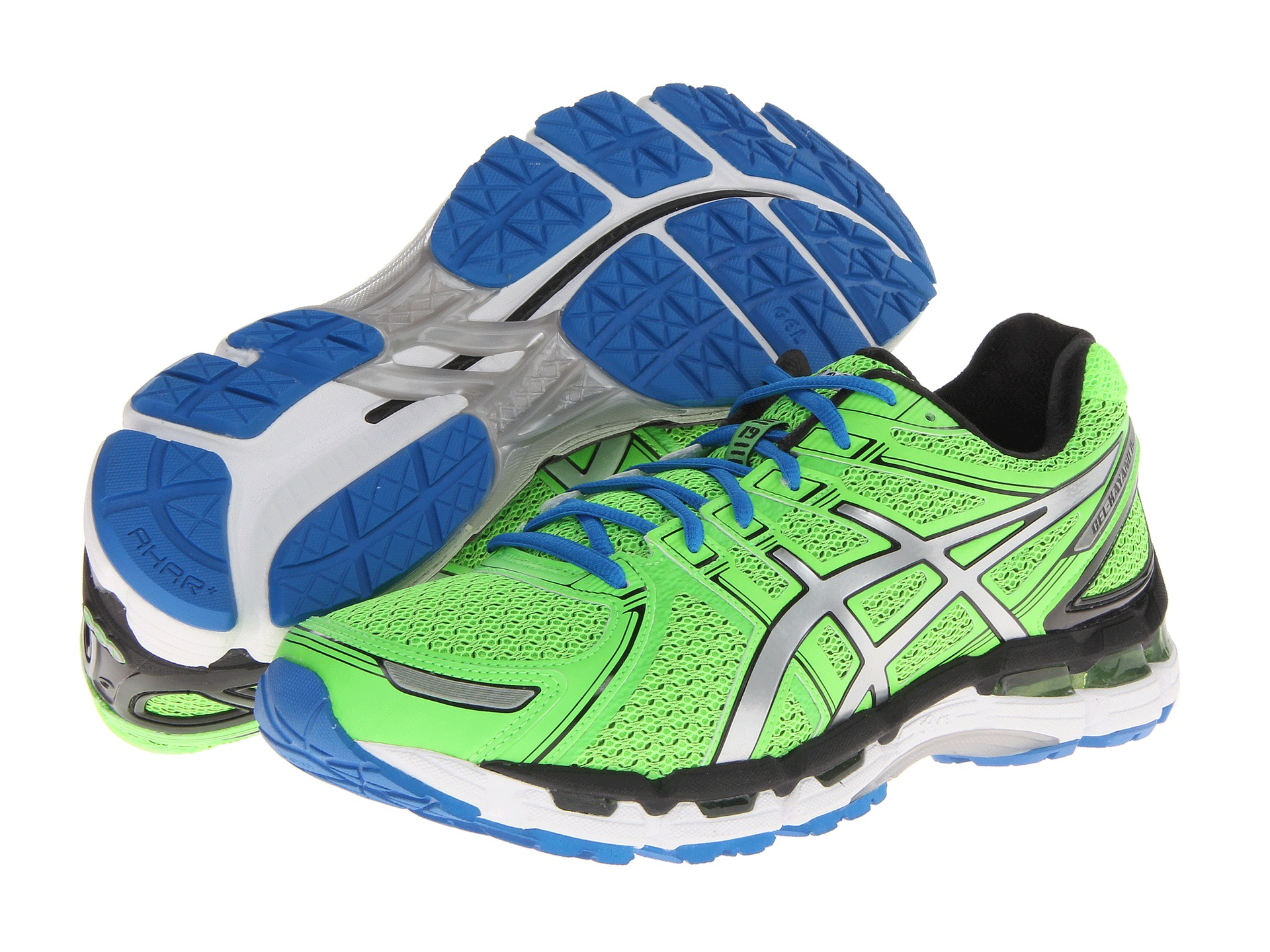 asics gel kayano 19 mens running shoes (green-lightning-sapphire)