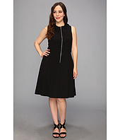 Calvin Klein Plus - Plus Size Zip Flirt Fit & Flare Lux Stretch Dress
