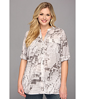 Calvin Klein Plus - Plus Size Print Crew Top w/ Convertible Sleeves