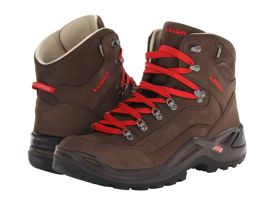 Lowa Renegade Pro GTX Mid Brown/Red Mens Shoes
