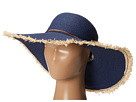 Sperry Top-Sider - Long Brim Straw Hat w/ Contrast Edges (Navy) - Hats