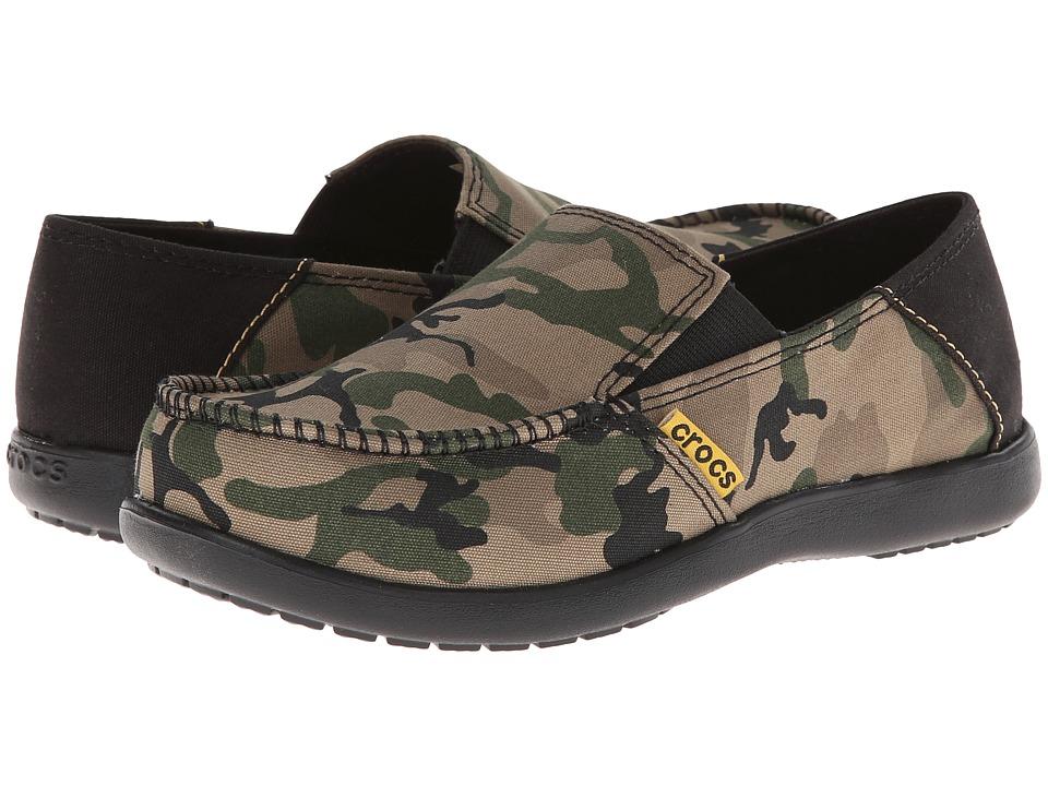 Crocs Kids - Santa Cruz Camo Loafer GS (Little Kid/Big Kid) (Army Green/Black) Boys Shoes