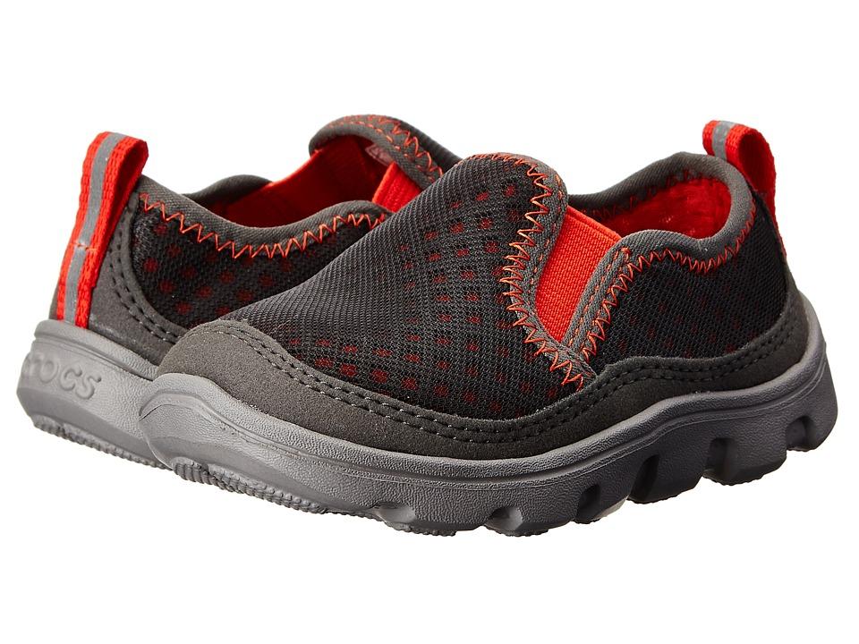 Crocs Kids - Duet Sport Slip-on Sneaker PS (Toddler/Little Kid) (Graphite/Flame) Boys Shoes