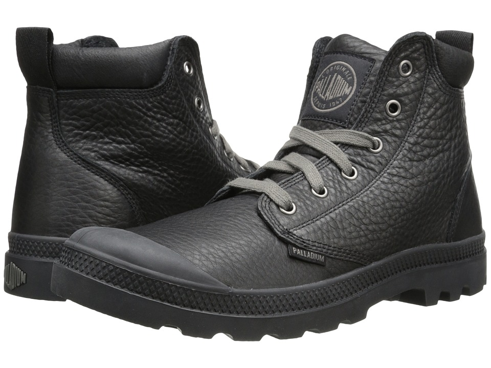 Palladium Pampa Hi Cuff Lea (Black/Metal) Men