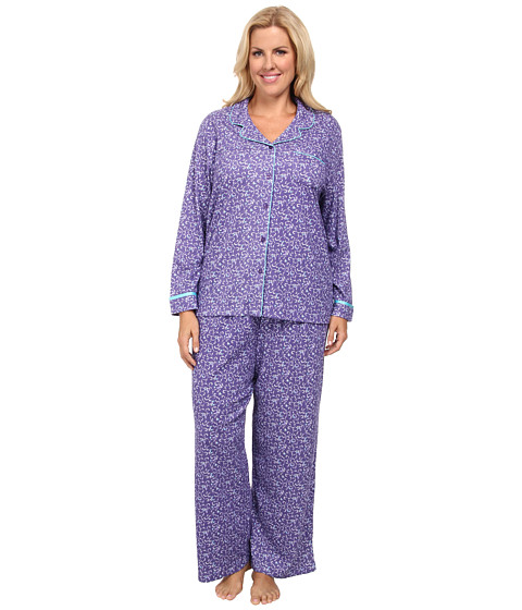Karen Neuburger Plus Size L/S Girlfriend Long PJ (Foulard/Aubergine) Women's Pajama Sets