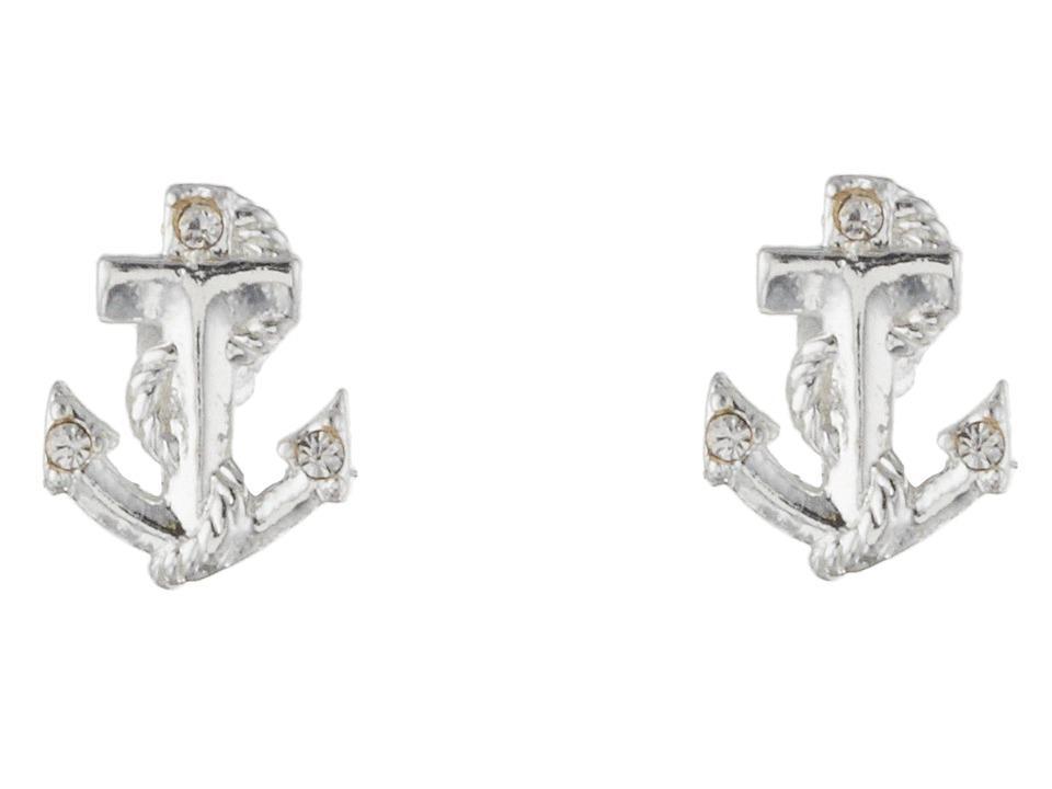 Betsey Johnson Anchor Stud Earrings Crystal/Rhodium Earring