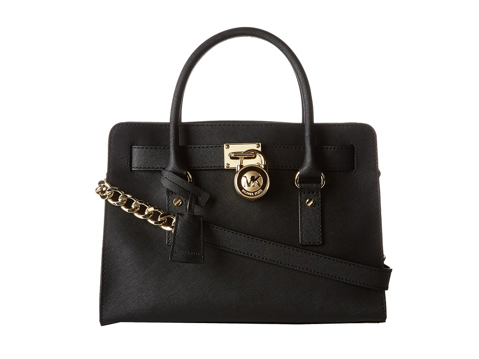 MICHAEL Michael Kors - Hamilton 18K East/West Satchel (Black) Satchel Handbags